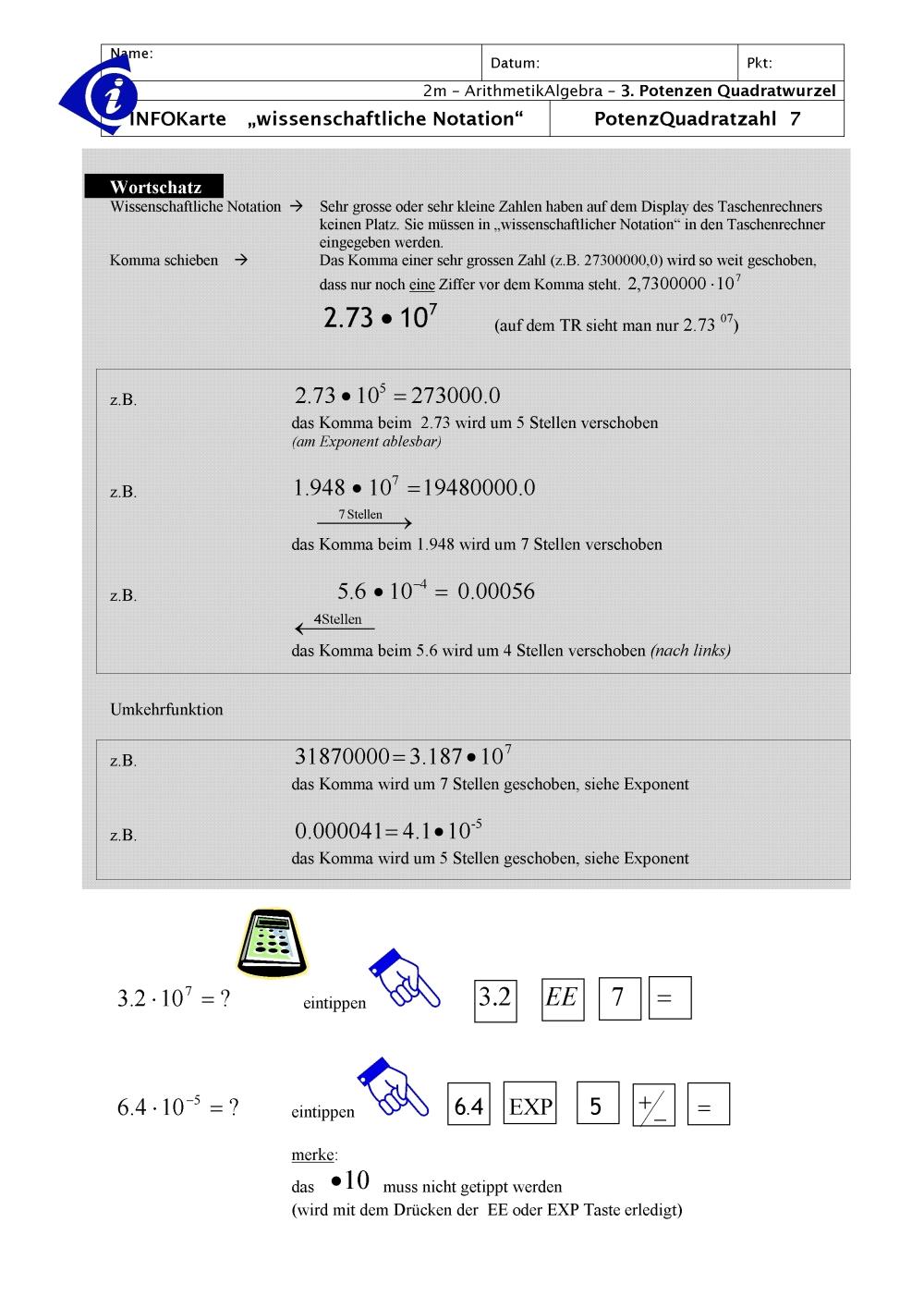 Fancy Wissenschaftliche Schreibweise Negative Exponenten ...